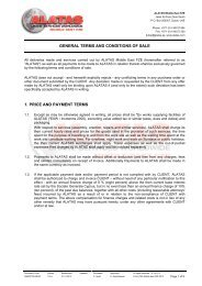 GENERAL TERMS AND CONDITIONS OF SALE 1. PRICE AND ...