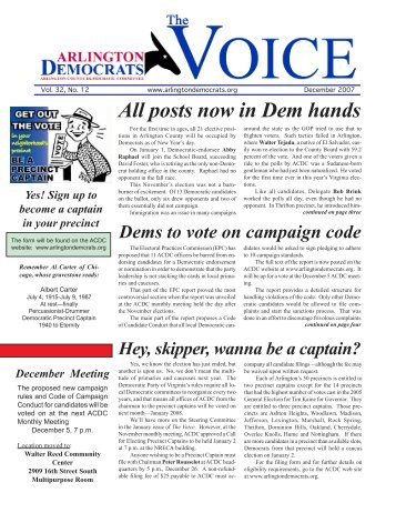 All posts now in Dem hands - Arlington County Democratic Party