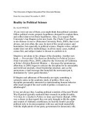 Reality in Political Science - Yale University