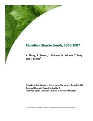 Canadian climate trends, 1950-2007 - Species at Risk