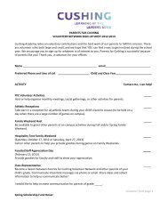 PARENTS FOR CUSHING VOLUNTEER NETWORK SIGN-UP ...