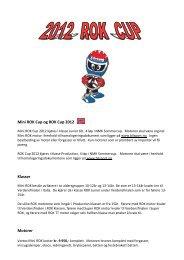 Mini ROK Cup og ROK Cup 2012 Klasser Motorer