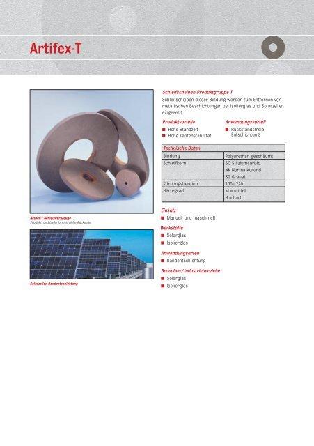ARTIFEX - Schleifscheiben Produktgruppe T