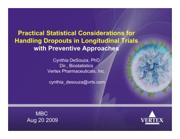Practical Statistical Considerations for Handling Dropouts in ...