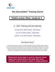 Multivariate Data Analysis I - Camo