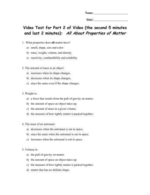 Video Quiz On Density Mass Volume Pdf
