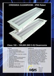 CRESSIDA CLEANROOM – IP65 Rated Class 100 ... - Davis Lighting