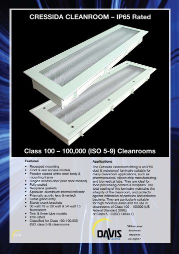 CRESSIDA CLEANROOM – IP65 Rated Class 100 ... - Davis Lighting