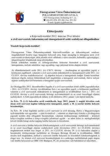 A civil szervezetek önkormányzati támogatásáról ... - Füzesgyarmat