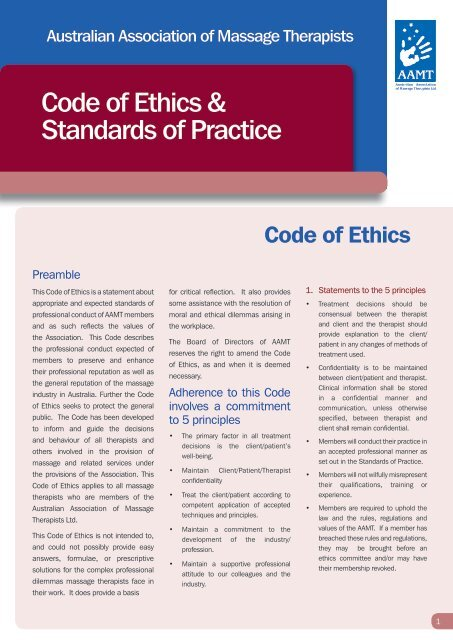 Code of Ethics & Standards of Practice - AAMT