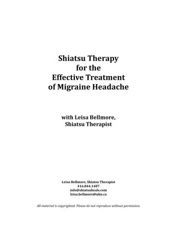 Shiatsu Therapy ! for the ! Effective Treatment! of Migraine ... - AAMT