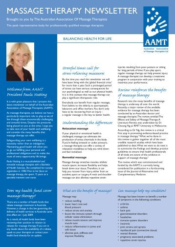MASSAGE THERAPY NEWSLETTER - AAMT