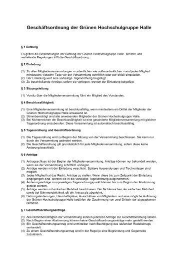 Geschäftsordnung der Grünen ... - Grüne Hochschulgruppe Halle