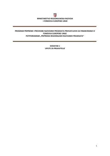 Upute za prijavitelje - Ministarstvo regionalnoga razvoja i fondova ...