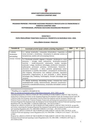 Dodatak 4. - Ministarstvo regionalnoga razvoja i fondova Europske ...
