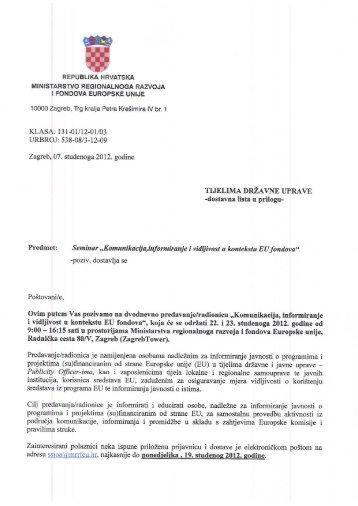 KLASA: 131-01112-011'03 - Ministarstvo regionalnoga razvoja i ...