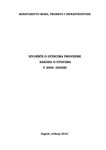 izvješće o učincima provedbe zakona o otocima u 2009. godini