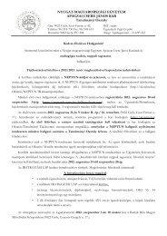 ANDAN 1 éves tájékoztató levél pót - NYME Apáczai Csere János Kar