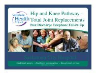 Hip and Knee Pathway - Health Care Quality Summit