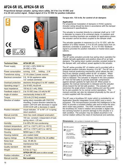 AF24-SR US, AFR24-SR US - NCA Manufacturing on