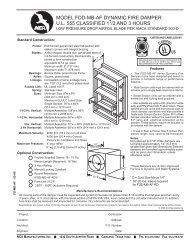 model fdd-mb-af dynamic fire damper ul 555 classified 11/2 and 3 ...