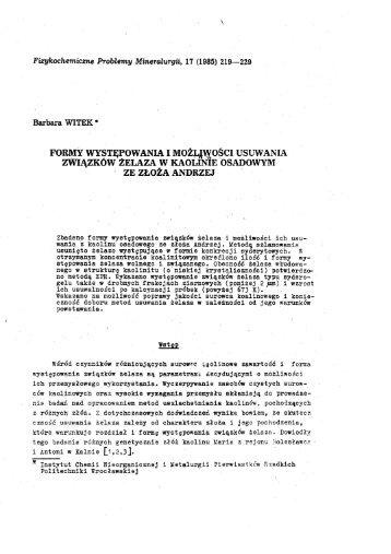 Formy występowania i możliwości usuwania związków żelaza w ...