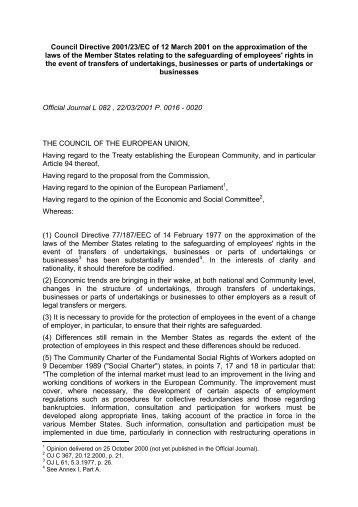DIRECTIVE 2001 23 EC PDF