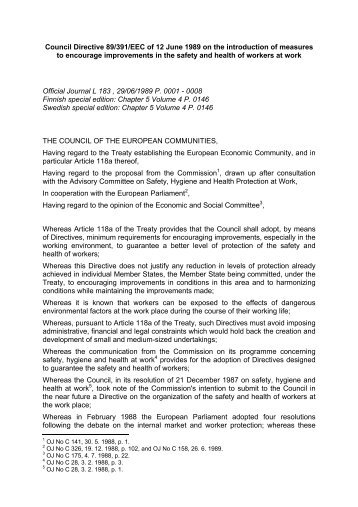 Council Directive 89/391/EEC of 12 June 1989 on the ... - secola