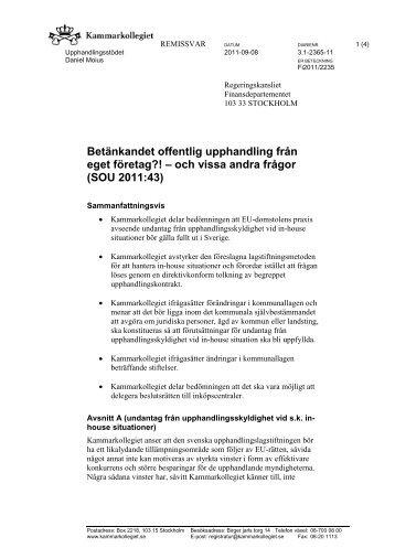 Remissvar Upphandling eget företag SOU2011_43