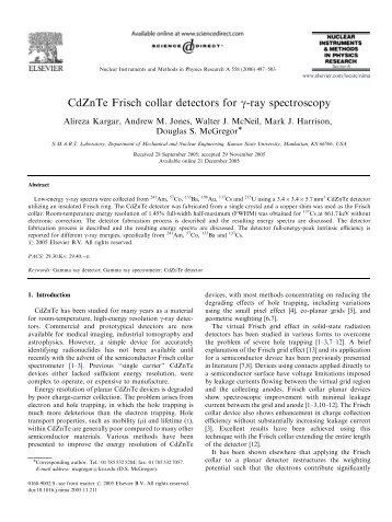 CdZnTe Frisch collar detectors for γ-ray spectroscopy - Kansas State ...