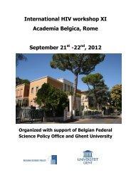International HIV workshop XI Academia Belgica, Rome ... - SIV