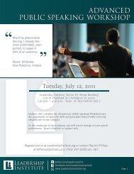 advanced public speaking workshop - The Leadership Institute