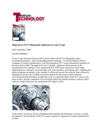 High Power EUV Lithography Light Sources Come of Age - Cymer, Inc.