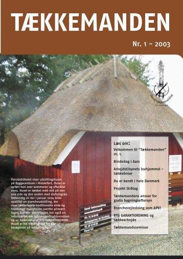 Tækkemanden 1/2003 - Dansk Tækkemandslaug