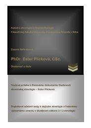 PhDr. Ester Plicková, CSc. - Ústav etnológie SAV