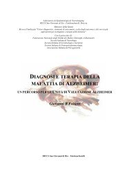 diagnosi e terapia della malattia di alzheimer