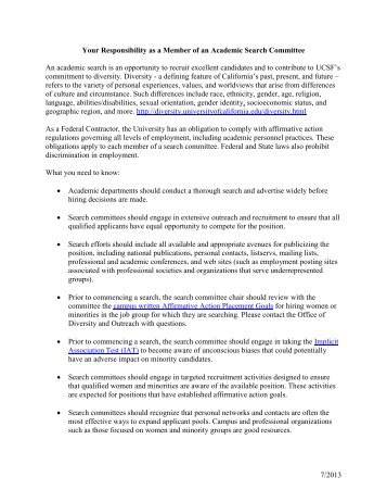 Responsibilities of Search Committee Members - Academic Affairs