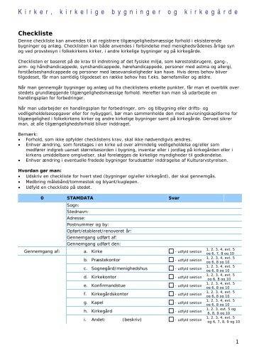 Checkliste for Seniorboliger - Tilgængelighed i folkekirken