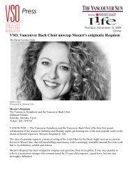 VSO, Vancouver Bach Choir unwrap Mozart's enigmatic Requiem
