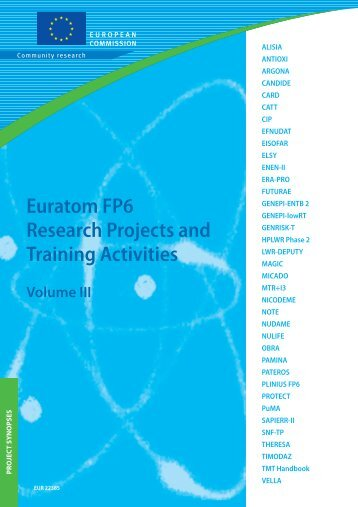Euratom FP6 Research Projects and Training Activities Volume III