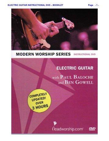 ELECTRIC GUITAR INSTRUCTIONAL DVD ... - Ben Gowell