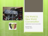 Old World & New World Conversation - Virginia Tech Alumni ...