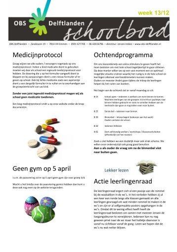 Medicijnprotocol Geen gym op 5 april ... - Obs delftlanden