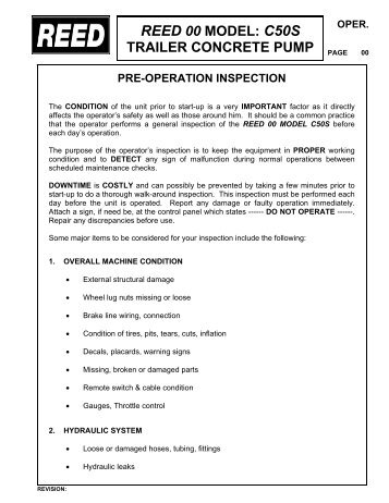 Pump maintenance schedule and checklists reed operation maintenance reed ccuart Choice Image