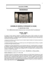 ASSEMBLEE GENERALE ORDINAIRE DU GHAMU