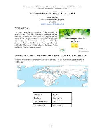 THE ESSENTIAL OIL INDUSTRY IN SRI LANKA - IFEAT