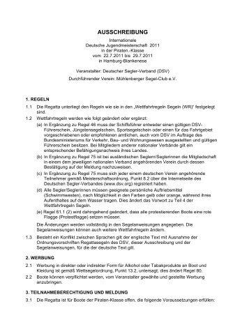 Ausschreibung DJM Pirat - Mühlenberger Segel-Club e.V.
