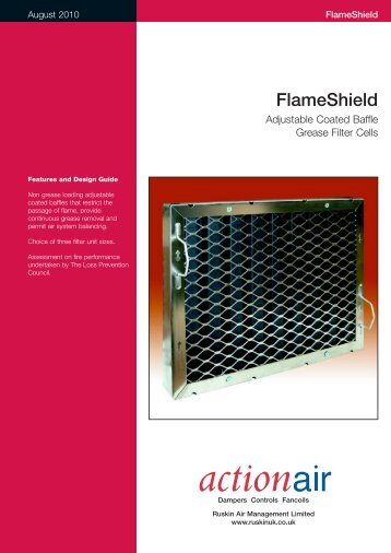 Flame Shield Adjustable Coated Baffle Grease Filter Cells - Actionair