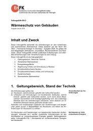 Wärmeschutz von Gebäuden Inhalt und Zweck 1. Geltungsbereich ...