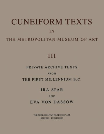 Cuneiform Texts in the Metropolitan Museum of Art, Volume III